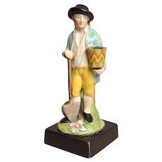 Antique 18th century English Georgian Staffordshire Pearlware Figure of a Gardener