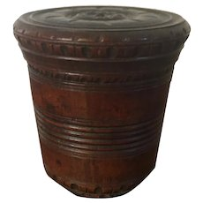Antique Early 19th century George III Carved and Turned Mahogany Treen Box