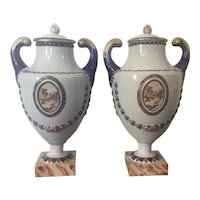 Pair Antique 18th century Chinese Export Porcelain Pistol Handled Urn Vases Decorated with Sepia Landscape Reserves 1790