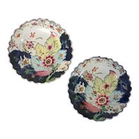 Pair Antique 18th century Chinese Export Famille Rose Porcelain Tobacco Leaf Plates