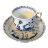 Antique 18th century Vienna Porcelain Coffee, Tea or Chocolate Cup and Saucer Dish in Blue & White in the Chinese Taste