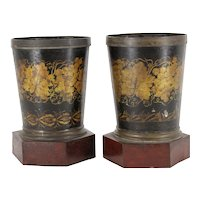 Pair Antique 19th century French Charles X Tole Peinte Cachepots or Jardinieres