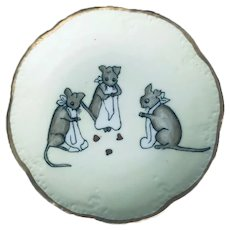 Antique 1917 Limoges Artist Decorated Plate with Three Hand Painted Mice