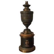 Fine Antique 19th century French Empire Gilt Bronze Urn Form Table Lamp with Siena Marble 1820