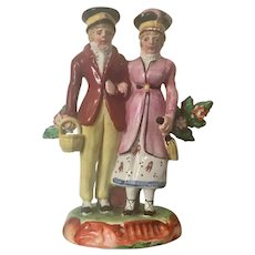 Antique Early 19th century English Regency Staffordshire Pearlware Figure of a Married Couple or Dandies