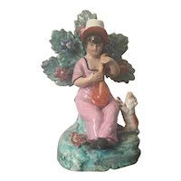 Antique Early 19th century English Regency Staffordshire Pearlware Figure of a Young Shepherdess with Her Sheep