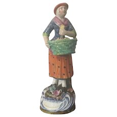 Antique Early 19th century English Regency Staffordshire Pearlware Figure of a Baker