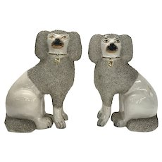 Large Pair 19th century English Staffordshire Pearlware Creamware Poodle Dogs with Vermicelli or Sieved Clay Ears and Tails 1850