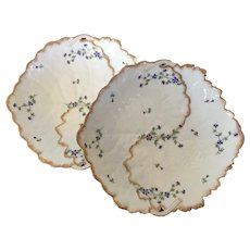Pair Antique Early 19th century Paris Porcelain Cabbage Leaf Form Dishes Decorated with Sprig Cornflower