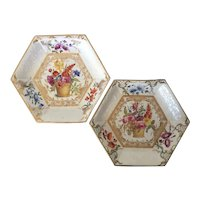 Pair Early 19th century English Regency Hexagonal Porcelain Serving Dishes Painted with Flower Baskets