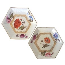 Pair Early 19th century English Regency Hexagonal Porcelain Serving Dishes Painted with Botanical Flowers