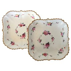 Pair Early 19th century English Regency Square Porcelain Serving Dishes Painted with Roses