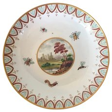 Antique 18th century Derby Porcelain Cake Plate or Low Bowl Decorated with Insects, Bees, Bugs and a Landscape Reserve