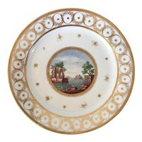 Antique Early 19th century Paris Porcelain Plate Decorated with Classical Ruins in Landscape by Locre