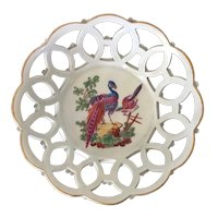 Antique 18th century Worcester Porcelain Fruit Bowl or Basket Decorated with Exotic Birds