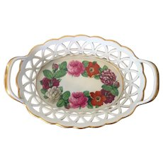 Antique 18th century German Furstenberg Porcelain Reticulated Basket or Fruit Bowl Decorated with Hand Painted Flower Garland
