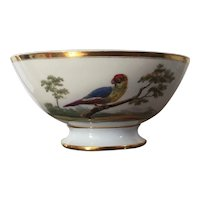 Antique Early 19th century Paris Porcelain Bowl with Ornithological Design of Exotic Birds in Landscape Including a Parrot c. 1820