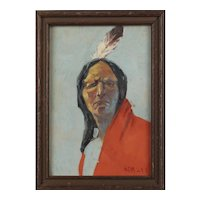 Oil Painting on Board Hardesty Gilmore Maratta (1864 - 1926) Portrait of a Native American Indian 1911