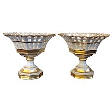 Pair Antique 19th century French Empire Paris Porcelain Reticulated Baskets or Corbeilles in White & Gold