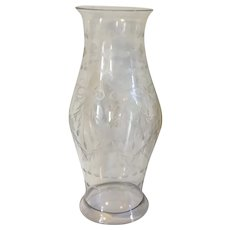 Large Antique 19th century Blown & Cut Glass Baluster Shape Hurricane Shade for a Candlestick