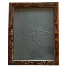 Antique Chinoiserie Black & Gold Lacquer Picture Frame