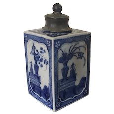 Antique Early 19th century Chinese Export Porcelain Tea Caddy Decorated with Reserves of Vases in Blue & White Glaze