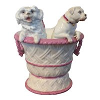 Antique 19th century Paris Porcelain Cachepot in the Form of a Basket with Two Dogs by Vion & Baury