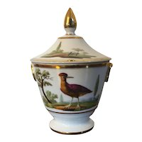 Antique Early 19th century Paris Porcelain Urn Form Sugar Bowl or Sucrier with Ornithological Design of Exotic Birds in Landscape c. 1820