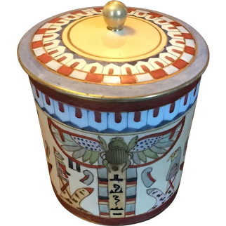 Antique Japanese Nippon Morimura Brothers Humidor Jar Decorated in the Egyptian Revival Taste Wreathed M