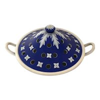 Large Antique 19th century Neoclassical Wedgwood Dark Blue Jasperware Incense Urn or Potpourri Vase