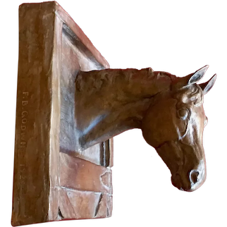 Frances Bryant Godwin (American 1892 - 1975) Bronze Horse Wall Plaque or Bridle Hook Cellini Bronze Works, New York Signed & Dated 1929