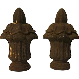 Pair Antique 19th century American Empire Solid Cast Iron Urn Form Gate Fence Finials