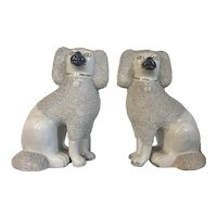 Pair 19th century English Staffordshire Pearlware Creamware Poodle Dogs with Vermicelli or Sieved Clay Ears and Tails 1850
