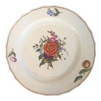 Large Antique 18th century German Continental Porcelain Round Charger Platter Decorated with Botanical Flower Specimens & Basketweave Border