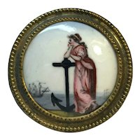 Antique 19th century Battersea Enamel Mirror Support or Curtain Tie Back Featuring an Allegory of Hope