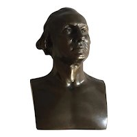 Antique 19th c. French Bronze Bust of President George Washington after Houdon signed Achille Collas