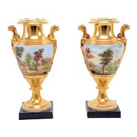 Pair Antique Early 19th century Paris Porcelain Urns or Vases Decorated with a Continuous Landscape Scene of Trees