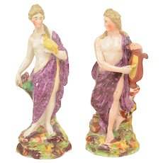 Pair Large Antique 18th century English George III Staffordshire Pearlware Figures of Venus and Apollo 1800
