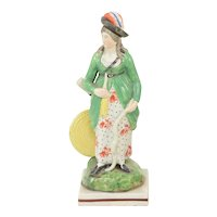 Antique Early 19th century Staffordshire Pearlware Figure of a Lady Archer