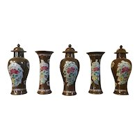 Antique Mantel Garniture of Five 18th century Chinese Export Porcelain Vases in Famille Rose Batavian Glaze with Tobacco Leaf Reserves