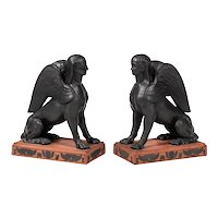Pair Antique 19th century Wedgwood Rosso Antico Black Basalt Figures of Egyptian Sphinx