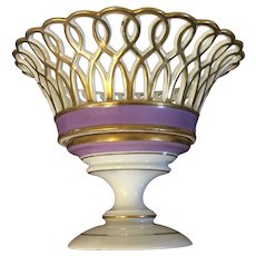 Antique Early 19th century French Empire Old Paris Porcelain Reticulated Basket Compote White & Gold with Purple Bands Corbeille