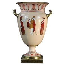 Antique Early 19th century French Empire Old Paris Porcelain Neoclassical Urn Vase Decorated in the Greek Taste by Dagoty /Edouard Honore