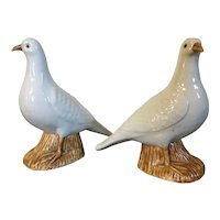 Vintage Pair Chinese Export Porcelain Birds - Dove or Pigeon
