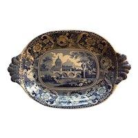 Large Antique Early 19th century Georgian Staffordshire Pearlware Blue Transferware Deep Platter