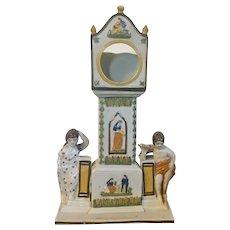 Antique 19th century English Staffordshire Creamware Pearlware Pocket Watch Holder Grandfather Clock Chimneypiece in Pratt Colors by Dixon Austin & Company circa 1820