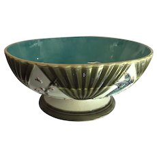 Antique 19th century Wedgwood Majolica Aesthetic Movement Footed Bowl for Punch or Fruit Decorated with Birds and Fans - Argenta Ware