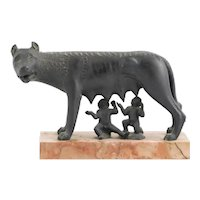 Antique 19th century Italian Grand Tour Roman Bronze of the Capitoline Wolf Nursing Romulus and Remus on Marble Plinth