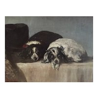 Antique 19th century Oil Painting on Board Depicting Two Cavalier King Charles Spaniel Dogs