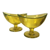 Pair Early 20th century Yellow Glass Navette Shape Footed Compotes